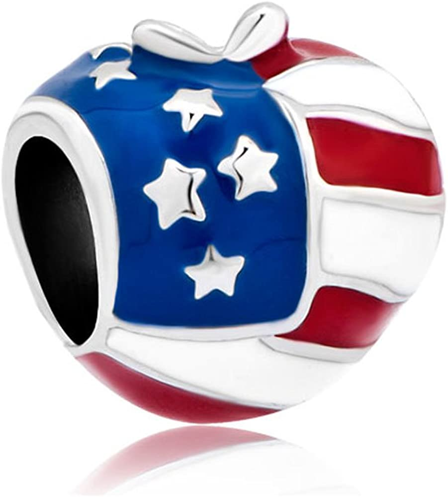 Mel Crouch Enamel Crystal USA American Flag Charms Apple Shape Charm Beads for Bracelets