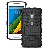 Moto G (3rd Gen) Case, JKase DIABLO Series Tough Rugged Dual Layer Protection Case Cover with Build in Stand for Motorola Moto G 3rd Generation 2015 (Black)