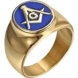 IFUAQZ Anillo masónico de acero inoxidable chapado en oro para hombre, azul G Lodge Master Mason