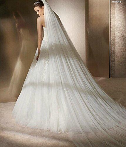Qishi's Long 118 Inches Double Layer Accesory Wedding Bridal Veil (ivory)