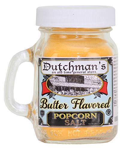 Dutchman's Buttery Popcorn Seasoning Salt,Old Fashioned Flavor (Butter Flavored, 4.5 oz) Decorative Glass Shaker Jar ()