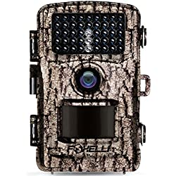 """Foxelli Trail Camera – 14MP 1080P Full HD Wildlife Scouting Hunting Camera with Motion Activated Night Vision, 120° Wide Angle Lens, 42 IR LEDs and 2.4"""" LCD Screen, IP66 Waterproof Game Camera"""