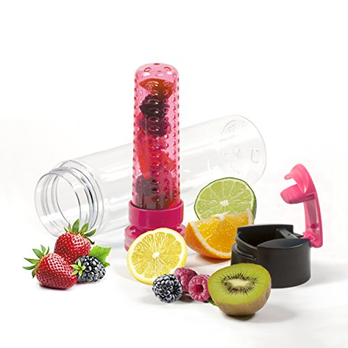Savvy Infusion® - Flip-Top Sport Infuser Water Bottle - Enjoy Delicious Fruit Infused Beverages - Leak Proof Tritan Travel Tumbler - Perfect Infusing and Detox Bottle for Sports & Fitness Enthusiasts