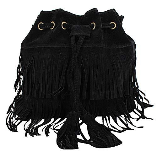 Goodbag Boutique Suede Fringe Tassel Messenger Bag Hippie Shoulder Bag Hobo Bag (kb1027Black)