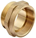 "Moon 357-1561511 Brass Fire Hose Adapter, Nipple, 1-1/2"" NPT Female x 1-1/2"" NPSH Male"