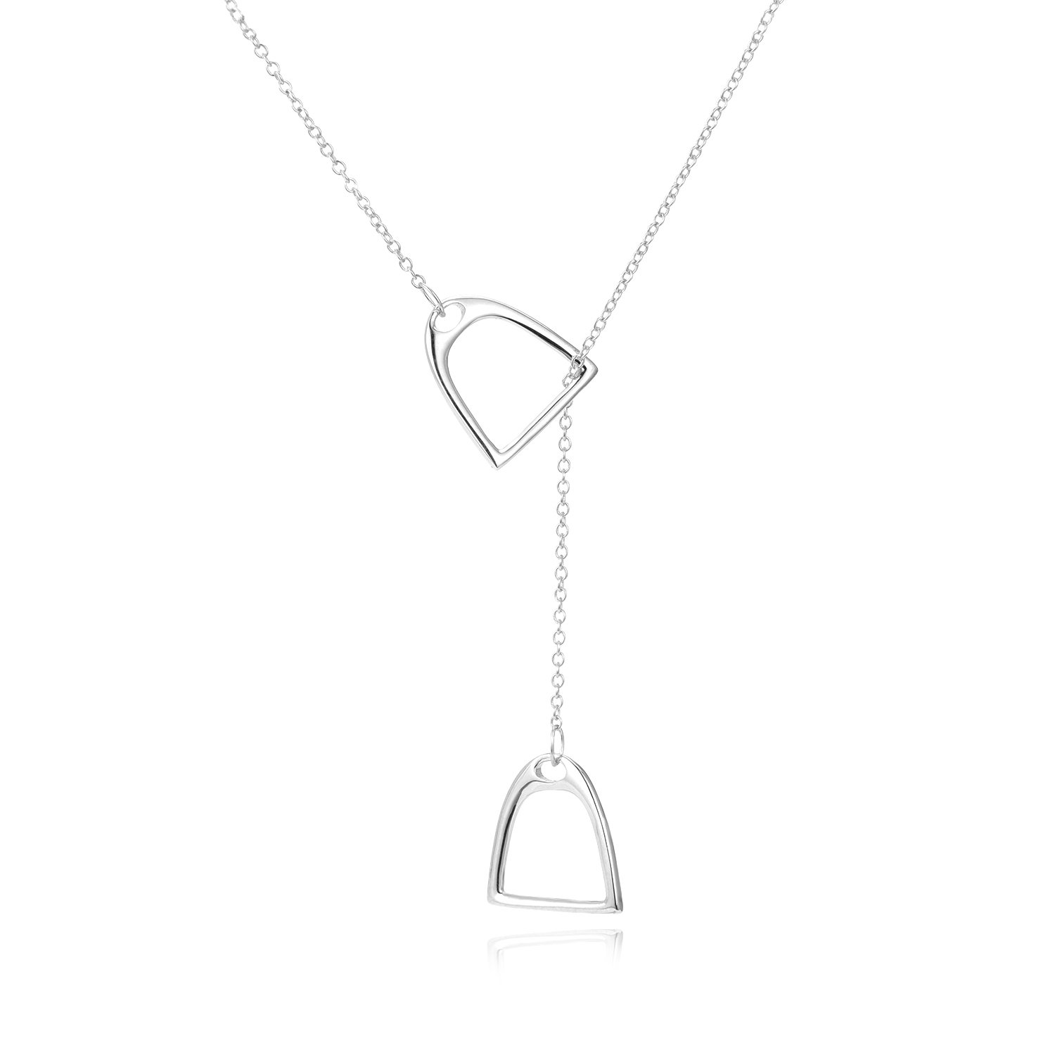 YFN Jewelry 925 Sterling Silver Simple Double Horse Stirrup Lariat Necklace Gift Birthday Day Jewelry 18'' for Mom Women Wife by YFN