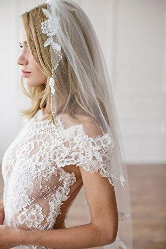 Alencon Lace Appliqued Veil Style ELAINA, 30 inches by David's Bridal
