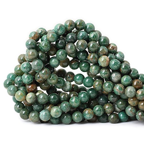 Qiwan 45PCS 8mm Natural African jade Round Loose stone Beads for Bracelet Necklace Earrings Jewelry Making Crafts Design Healing 1 Strand 15