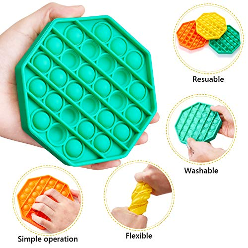 i-FSK Push Pop Bubble Sensory Fidget Toy, Autism Special Needs Stress Reliever Silicone Stress Reliever Toy, Squeeze Sensory Toy, Help Restore Emotions Gift for Adult Kids (Square - Green)
