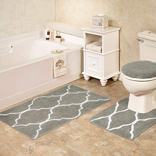 Homcomoda 2 Piece Bath Rugs Set Microfiber Washable Bath Mats with Contour Toilet Rug U-