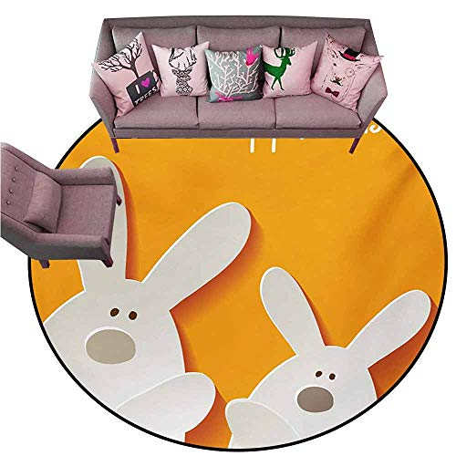 - Non-Slip Modern Carpet Easter,Happy Easter Bunnies on a Warm Toned Background Abstract Animal Design,Orange Coconut Brown Diameter 54