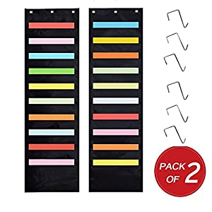 Kruideey 2-Pack Premium Hanging Wall File Organizer,Cascading Wall Organizer . Best Pocket Chart for Home Organization, School Pocket Chart, Office Bill Filing .Easy Wall Storage Pocket Chart (Black)