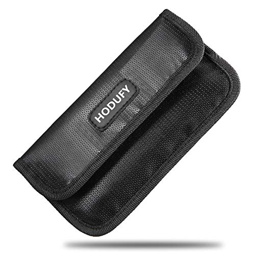 Hodufy Fireproof Faraday Bag, RFID Signal Blocking Bag Shielding Pouch Wallet Case for Cell Phone Privacy Protection and Car Key FOB (Black) (Best Cell Phone For Privacy)