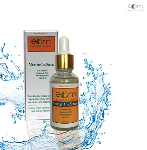 Essential Market-Vitamin C Serum Contains Professional Strength 20% Vitamin C + Hyaluronic Acid+Aloe Vera extract - Anti Wrinkle, Anti Aging Serum For A Radiant & More Youthful Glow
