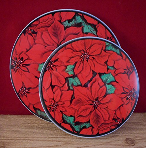 Christmas Poinsettia Red ELECTRIC Stove Top ROUND BURNER COVERS 4 Pieces