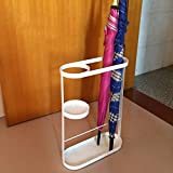 Umbrella Stands Wrought Iron Long/Short With Drip Tray Floor Standing Umbrella Bucket Household Hotel Hallway Lobby Umbrella Barrel Storage Rack (Color : White, Size : 331248cm)