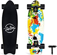 BELEEV Cruiser Skateboard, 27 x 8 inch Complete Skateboard for Kids Teens & Adults, 7 Layer Canadian Maple