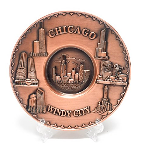 Chicago Souvenir Plate Copper Toned 3D Metal with Stand (5 in. Diameter)