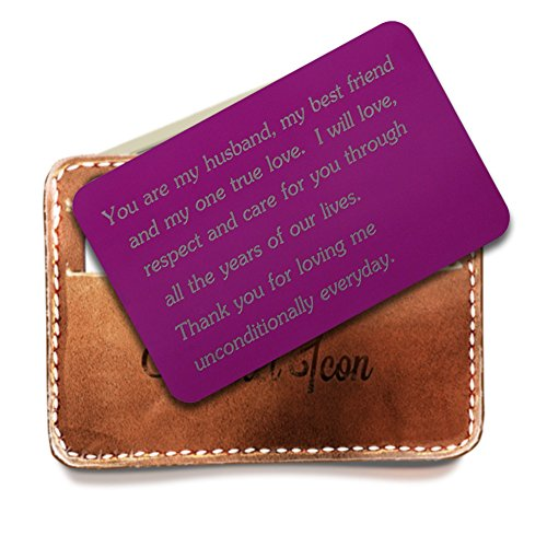 Engraved Wallet Insert, Personalized Wallet Card, Purple wallet insert, You are My Husband My Best friend and My One True Love, Perfect Husband Gifts, Wedding Anniversary Gifts for Men by Rainmon