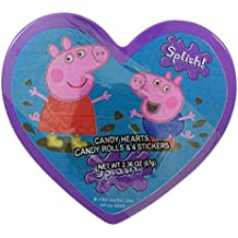 Peppa Pig Valentines Day Heart Box with Candy Pieces and Stickers, 2.36 oz (Purple)