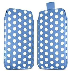Direct-2-Your-Door - Samsung Galaxy S4 Mini i8190 premium Polka Dot Design PU Funda de cuero Flip Case Tire Tab - Azul