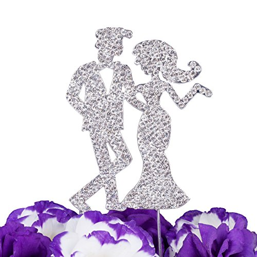 (LOVENJOY with Gift Box Rhinestone Wedding Cake Toppers Bride and Groom Silhouette Silver (3.3-inch))