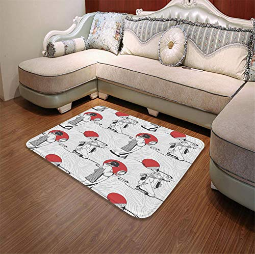"YOLIYANA Water Absorption Non-Slip Mat,Asian,for Corridor Study Room Bathroom,55.12"" x78.74"
