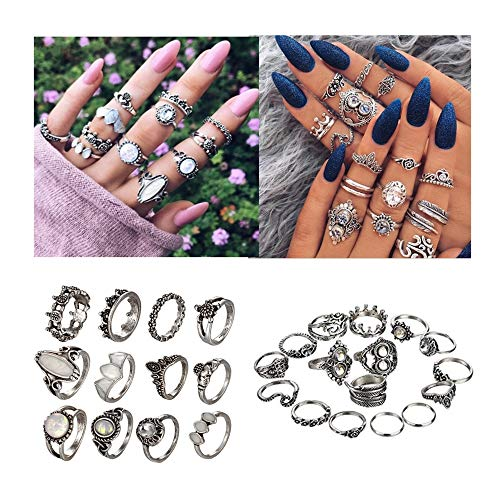 NNIOV 28Pc Fashion Boho Knuckle Rings Set for Women Girls Men, Vintage Retro Crystal Bohemian Midi Rings, Joint Nail Band Cuff Toe Statement Finger Rings, Heavy Enamel Leaf Feather (28 Pcs a Set)