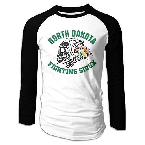 Philadelphia Phillies Spring Training - Men's North Dakota Fighting Sioux Skull Logo Long Sleeves Raglan Tee Shirt Large