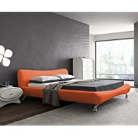 US Pride Furniture B8064-EK Joyce Leather Contemporary Platform Bed, Eastern King, Red