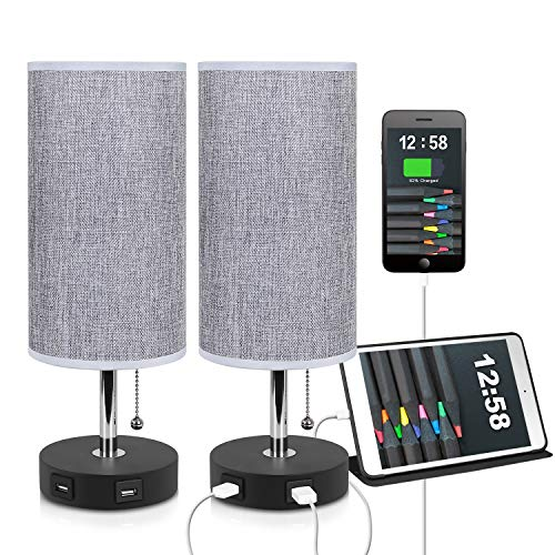 (USB Table Lamp, Bedside Table Lamps with 2 Useful USB Charging Ports,2)