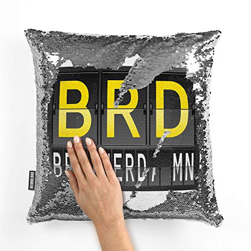 NEONBLOND Mermaid Pillow Cover BRD Airport Code for Brainerd, MN Reversible Sequin ()