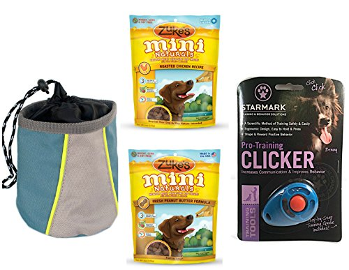 Canine Clicker Training Kit with Clicker, Premium Dog Treats, Treat Pouch and Instructions