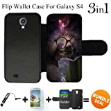 Nebula Funny Sloth Reading Book Custom Galaxy S4 Cases Flip Wallet Case,Bundle 3in1 Comes with Screen Protector/Universal Stylus Pen by innosub