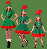 Women Girls Holiday Elf Costume