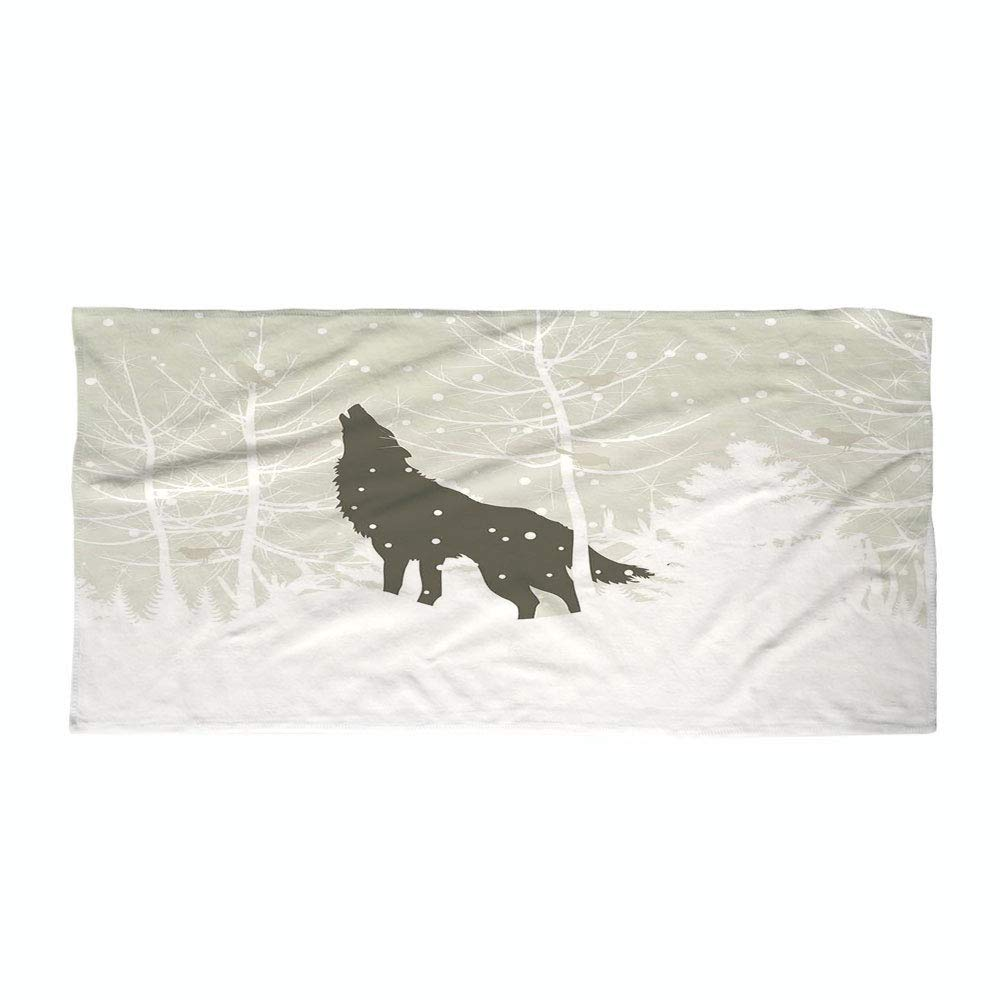 iPrint Cotton Microfiber Beach Towel,Winter,Wolf Silhouette Howls in Woods Leafless Trees Snowflakes Wilderness Nature,Eggshell White Black,for Kids, Teens, and Adults