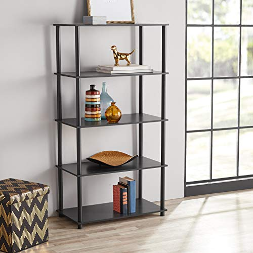 HnG Open Back 8-Cube Shelving Storage, No Tools Assembly, Elegant Traditional Style, Bookshelf, Plant Stand, Black Finish