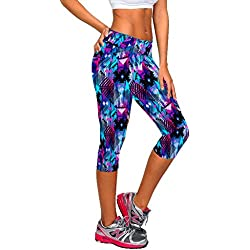 Manstore Women's Printed Active Workout Capri Leggings Fitted Stretch Tights C34 L/XL