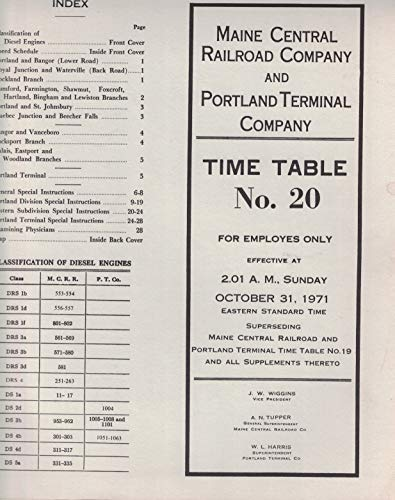 Maine Central Railroad Co and Portland Terminal Co Employee Time Table No. 20 October 31, 1971