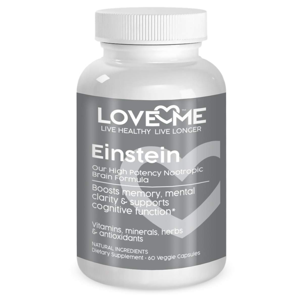 Love Me Nutrition – Einstein – Brain Nootropic Formula Men Woman. Minerals, Herbs, Antioxidants Amino Acids. Memory Mental Focus Clarity. Natural No Artificial Ingredients 60 Vegi Caps