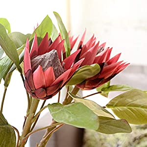 super1798 1Pc King Protea Artificial Flower Fake Plant DIY Wedding Bouquet Party Decor Wine Red 110