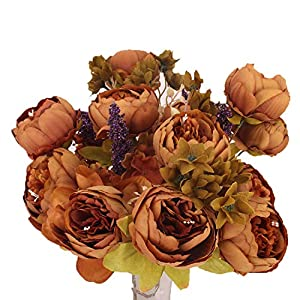 Odalisque Vintage Artificial Peony Silk Flowers 13 Heads Fake Flowers Bouquet for Home Wedding Office Christmas Decoration, Pack of 1 43