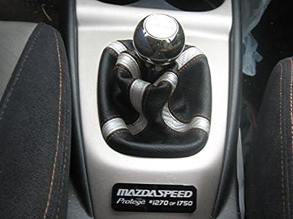 Black Alcantara-Blue Thread RedlineGoods Shift Boot Compatible with Mazda Protege 1999-03