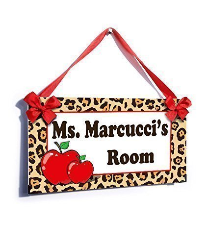 Teacher Signs for Classroom Door Elegant Leopard Print with Red Apples