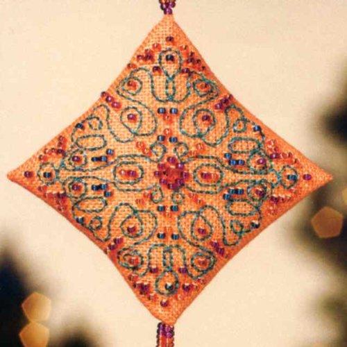 Tangerine Sorbet Diamond Ornament with Tassel Mill Hill Beaded Cross Stitch Kit MH223301
