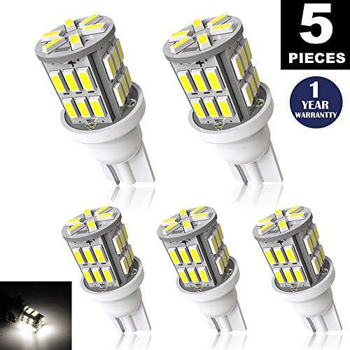 LUYED 5 X 300 Lumens Super Bright 3014 30-EX Chipsets 194 168 175 2825 W5W 158 161 T10 Wedge Led Bulbs,Xenon (Proof Ex Set)