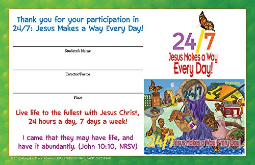 Vacation Bible School (VBS) 2018 24/7 Student Certificates (Pkg of 24): Jesus Makes a Way Every Day! ()