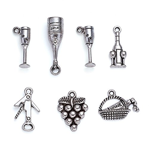 Kissitty 5 Sets Mixed Style Antique Silver Tasting Wine Grape Cocktail Glass Wine Opener Pendants for DIY Jewelry Making 30pcs/Bag