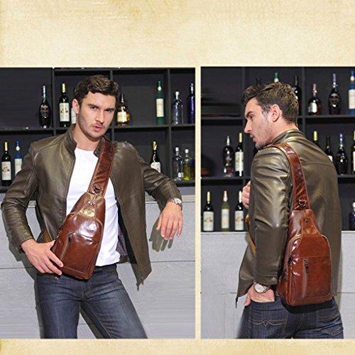 LWT - Borsa in pelle borsa a tracolla Messenger Bag Europa e America Borsa in pelle di cera dell'olio (19 * 37CM) (marrone)