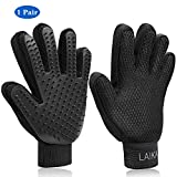 Laika Pet Grooming Gloves - Pet Deshedding Brush Glove: Breathable Comfortable & Efficient Hair Remover Mitt - Enhanced Five Finger Design - Perfect for Dog & Cat with Long & Short Fur - 1 Pair - Black